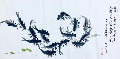 李尊荣日记-国画鱼虾《龙行天下》,《问候》,《黄河三尺鲤,本在孟津居。点额不成龙,归来伴凡鱼【图4】