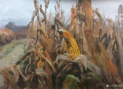 宋德发日记-乡村题材水粉画近作一组,《牧牛图》,《玉米地》,《江边小路》,尺寸60x80cm【图3】