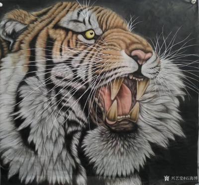 石海博日记-国画老虎系列作品《王者至尊》两幅,尺寸四尺整纸68x138cm,《精品虎头》两幅【图1】