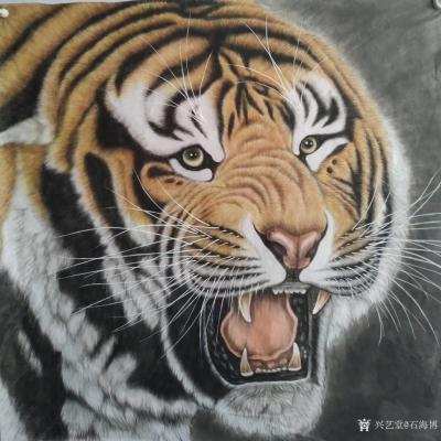石海博日记-国画老虎系列作品《王者至尊》两幅,尺寸四尺整纸68x138cm,《精品虎头》两幅【图2】