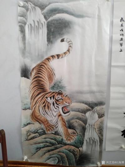 石海博日记-国画老虎系列作品《王者至尊》两幅,尺寸四尺整纸68x138cm,《精品虎头》两幅【图3】