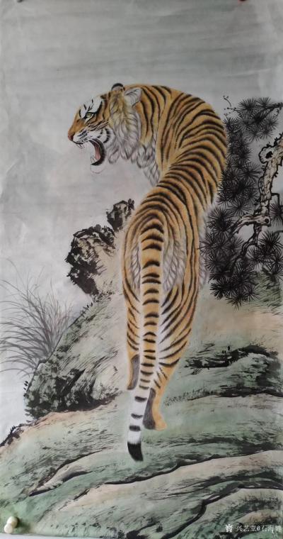石海博日记-国画老虎系列作品《王者至尊》两幅,尺寸四尺整纸68x138cm,《精品虎头》两幅【图4】