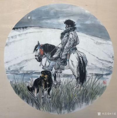 于波日记-国画人物画新作两幅《高原之夜》《待晓》,尺寸四尺斗方68x68cm,第一幅人物画【图1】