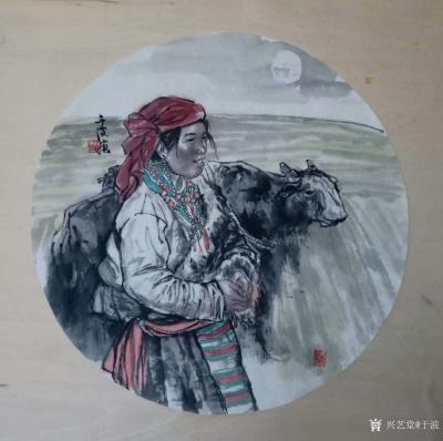 于波日记-国画人物画新作两幅《高原之夜》《待晓》,尺寸四尺斗方68x68cm,第一幅人物画【图2】