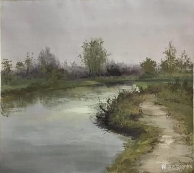 宋德发日记-乡村题材水粉画近作《野地水塘》,加了几根木棍,再加上一只水鸟,一蓬水藻,画便不仅【图1】