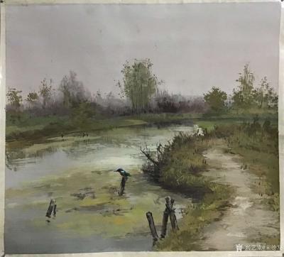 宋德发日记-乡村题材水粉画近作《野地水塘》,加了几根木棍,再加上一只水鸟,一蓬水藻,画便不仅【图2】