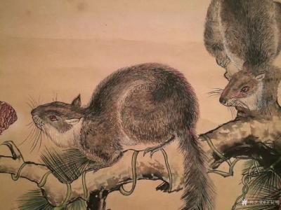 王征明日记-国画松鼠,尺寸四尺斗方68x68里米,朋友们都见多了我画的水意画,国画比较少作,【图2】