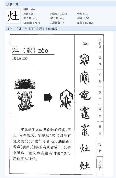 """杨牧青日记-大年初四迎灶神·宋代时出现的简体""""灶""""字形,无疑是非常正确的!估计是通晓天文地理【图3】"""