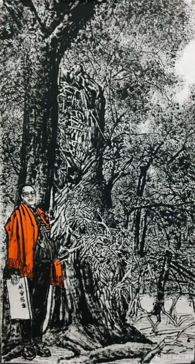 马培童收藏-焦墨画大写意胡杨树研究之二,大写意与小写意对比,用的是阴阳法, 画的方法一幅阴画【图1】