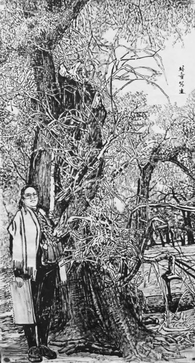 马培童收藏-焦墨画大写意胡杨树研究之二,大写意与小写意对比,用的是阴阳法, 画的方法一幅阴画【图2】