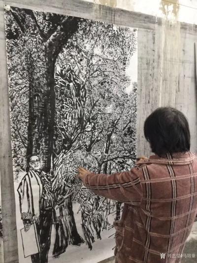马培童收藏-焦墨画大写意胡杨树研究之二,大写意与小写意对比,用的是阴阳法, 画的方法一幅阴画【图3】