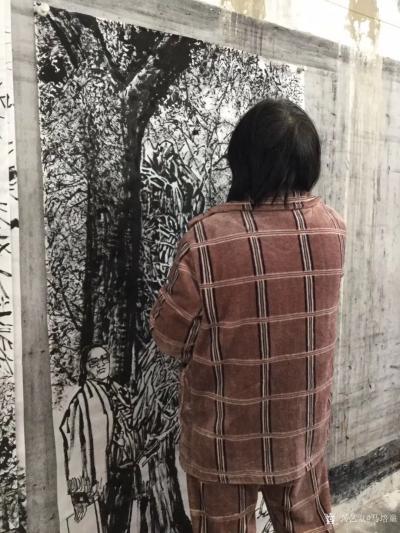 马培童收藏-焦墨画大写意胡杨树研究之二,大写意与小写意对比,用的是阴阳法, 画的方法一幅阴画【图4】