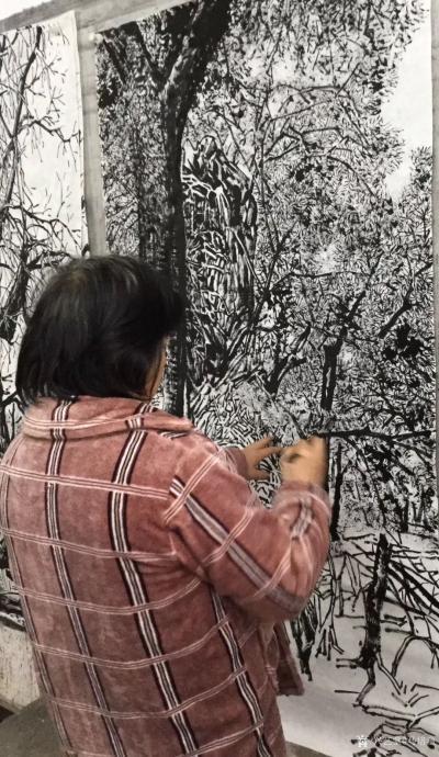 马培童收藏-焦墨画大写意胡杨树研究之二,大写意与小写意对比,用的是阴阳法, 画的方法一幅阴画【图5】