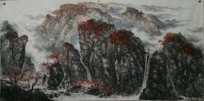 于立江日记-新作品国画山水画《桃花烂漫时》两幅,尺寸八尺240×128cm,第三幅是《清泉石【图1】