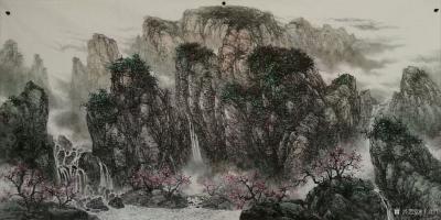 于立江日记-新作品国画山水画《桃花烂漫时》两幅,尺寸八尺240×128cm,第三幅是《清泉石【图2】