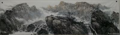 于立江日记-新作品国画山水画《桃花烂漫时》两幅,尺寸八尺240×128cm,第三幅是《清泉石【图3】