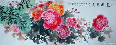 刘慧敏日记-《花开富贵》《锦上添花》《富贵满堂》,国画花鸟画作品集锦,尺寸小六尺横幅68x1【图1】