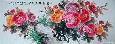 刘慧敏日记-《花开富贵》《锦上添花》《富贵满堂》,国画花鸟画作品集锦,尺寸小六尺横幅68x1【图3】