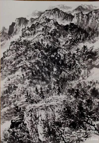 阎敏日记-水墨画作品《墨韵•太行——车佛沟印象》,尺寸四尺竖幅68×138厘米;第二幅作品【图1】