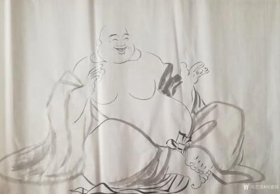 尚建国日记-国画人物画《弥勒也遇难唸的经》作品尺寸小八尺240×98cm,附绘画过程;  【图1】