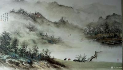 陈刚日记-油彩山水画作品《溪山高隐图》,第二幅《天际识归舟》尺寸1092✘640cm;第三【图2】