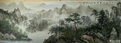 陈刚日记-油彩山水画作品《溪山高隐图》,第二幅《天际识归舟》尺寸1092✘640cm;第三【图4】