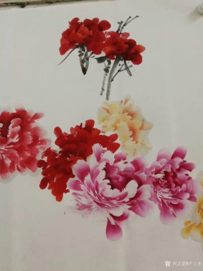 """卢士杰日记-创作一副六尺作品""""花开富贵"""",从八点准备,九点,十点,十一点,十二点,一点,一点【图1】"""