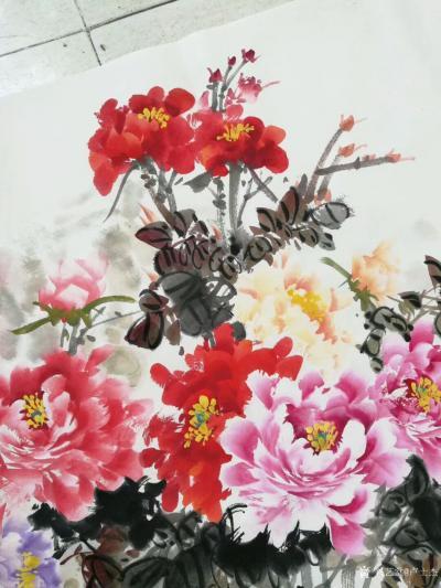 """卢士杰日记-创作一副六尺作品""""花开富贵"""",从八点准备,九点,十点,十一点,十二点,一点,一点【图2】"""