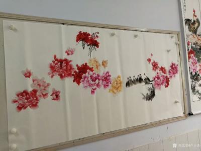 """卢士杰日记-创作一副六尺作品""""花开富贵"""",从八点准备,九点,十点,十一点,十二点,一点,一点【图3】"""