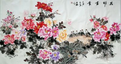"""卢士杰日记-创作一副六尺作品""""花开富贵"""",从八点准备,九点,十点,十一点,十二点,一点,一点【图4】"""