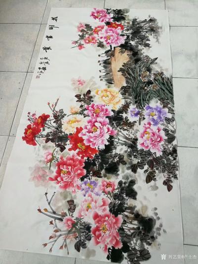 """卢士杰日记-创作一副六尺作品""""花开富贵"""",从八点准备,九点,十点,十一点,十二点,一点,一点【图5】"""