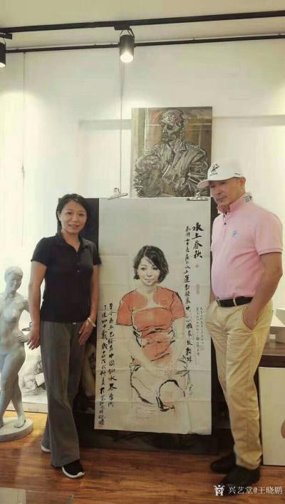 王晓鹏收藏-《国家级跳水教练——秦静》水墨人物肖像画。   这幅水墨人物肖像画于去年完成,【图1】