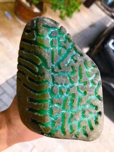 中缅翡翠一手货源日记-1.32kg老坑后江冰阳绿满色大牌料,满满的都是色,完美无裂,稳出货的精品,做货【图3】