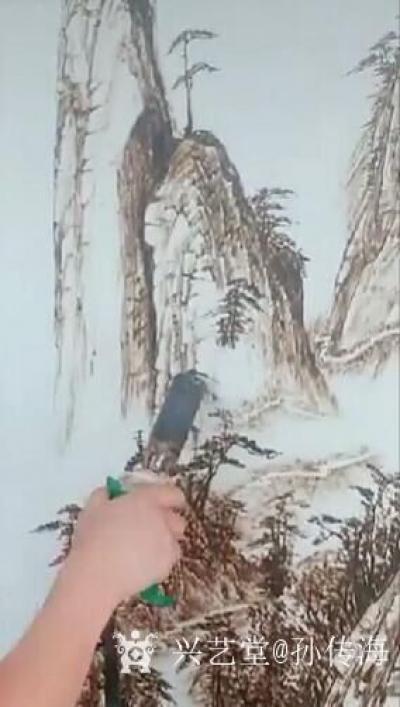 孙传海日记-烙画《雲動三清山》创作进行中;   三清山是江西道教圣地,此幅烙画是道教收藏家【图3】