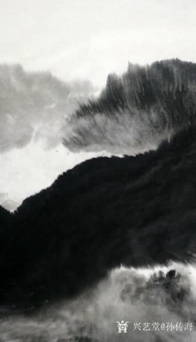 孙传海日记-国画水墨山水画《牛毛山》创作中;   牛毛山:青岛市沧口 晓翁村的北面有一座不【图1】