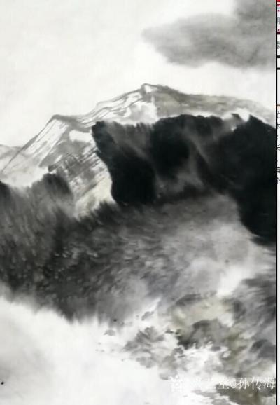 孙传海日记-国画水墨山水画《牛毛山》创作中;   牛毛山:青岛市沧口 晓翁村的北面有一座不【图2】
