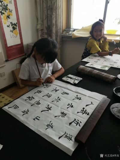 李高收藏-工作室少儿课堂今天体验团扇国画创作,小朋友们最近写的画的进步都挺大!值得欣慰。特【图5】