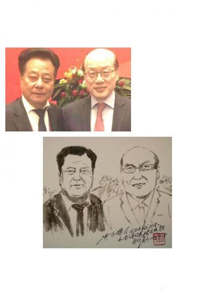 洪志标日记-人物肖像速写作品:第一幅是为国台办刘洁一主任和金门县洪允典议长作的两分钟人物肖像【图1】
