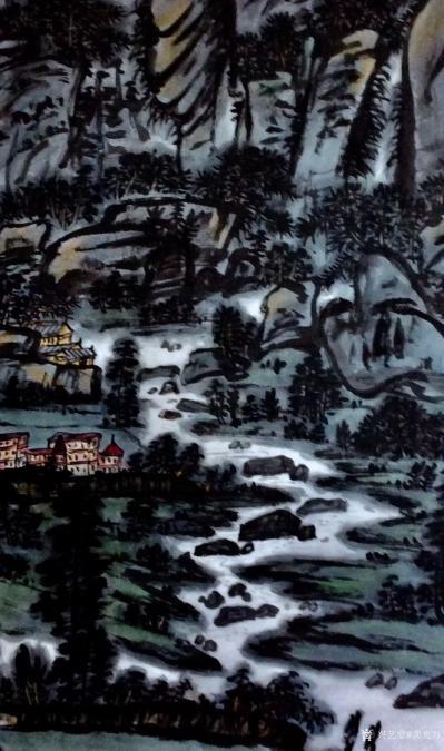 龚光万日记-国画写意山水画《龙阳山春色图》《天堑变通途》,国画鱼《春潮》; 为纪念我们伟大【图4】