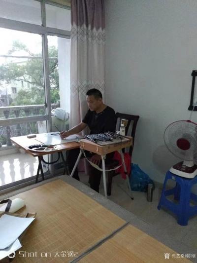 陈刚日记-采风之楠溪江陡门村,并完成《楠溪江》画作两幅;   在永嘉通刘存浩先生的引导与【图2】