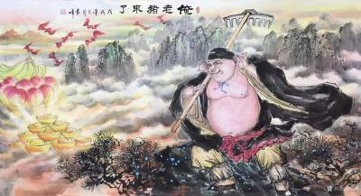 袁峰日记-国画猪系列作品《俺老猪来了》《五福临门》《金猪纳福》《憨福图》《诸事亨通》《福禄【图1】