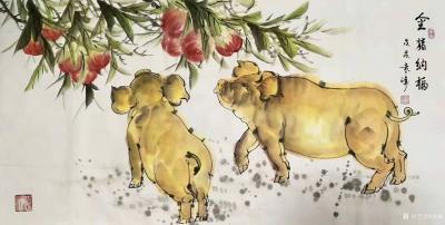 袁峰日记-国画猪系列作品《俺老猪来了》《五福临门》《金猪纳福》《憨福图》《诸事亨通》《福禄【图5】