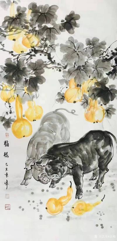 袁峰日记-国画猪系列作品《俺老猪来了》《五福临门》《金猪纳福》《憨福图》《诸事亨通》《福禄【图7】
