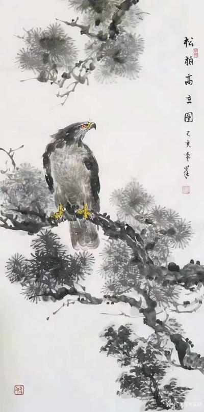 袁峰日记-国画鹰系列《鸿业腾飞》《松柏高立图》《大展宏图》《高瞻远瞩》乙亥年作品,尺寸四尺【图2】