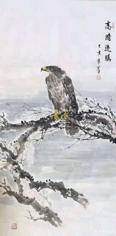 袁峰日记-国画鹰系列《鸿业腾飞》《松柏高立图》《大展宏图》《高瞻远瞩》乙亥年作品,尺寸四尺【图4】