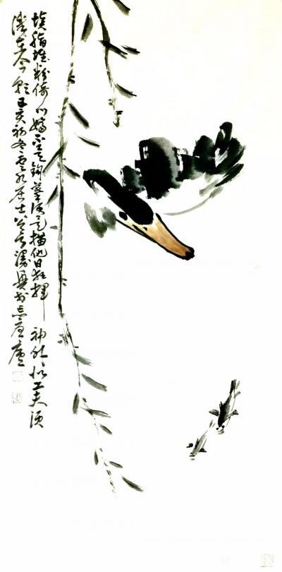 """龚光万日记-国画花鸟画""""填脂堆粉依门娇,不是钩摹便是描,他日狂挥似神外,工夫须识在今朝 。""""【图1】"""