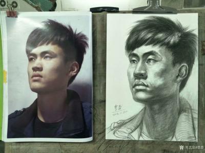 覃莽日记-我的素描人物头像画法步骤,以两幅今日教学示范作品为例;   画好后要不断的观察【图5】