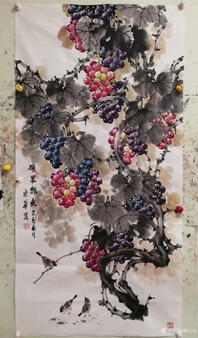 韩宗华日记-国画花鸟画葡萄系列《硕果累累》,葡萄架下配麻雀,动静结合,别有一番生趣。   【图3】