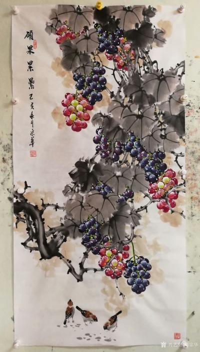 韩宗华日记-国画花鸟画葡萄系列《硕果累累》,葡萄架下配麻雀,动静结合,别有一番生趣。   【图4】
