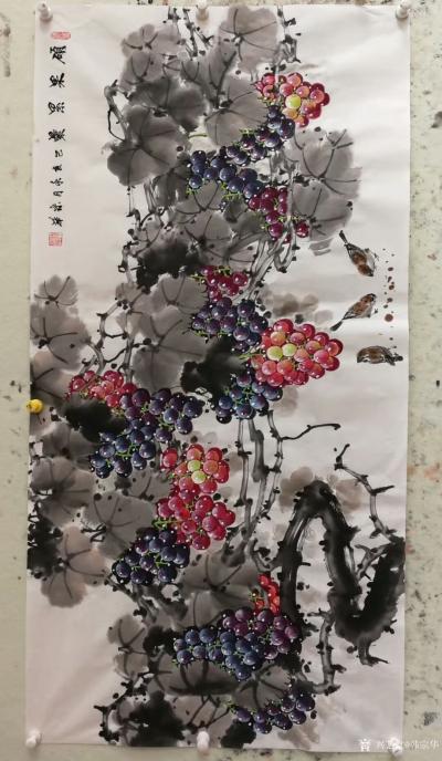 韩宗华日记-国画花鸟画葡萄系列《硕果累累》,葡萄架下配麻雀,动静结合,别有一番生趣。   【图6】